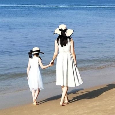 潮牌草帽女沙滩大帽檐女童遮阳防晒海边度假儿童亲子帽子母女大沿