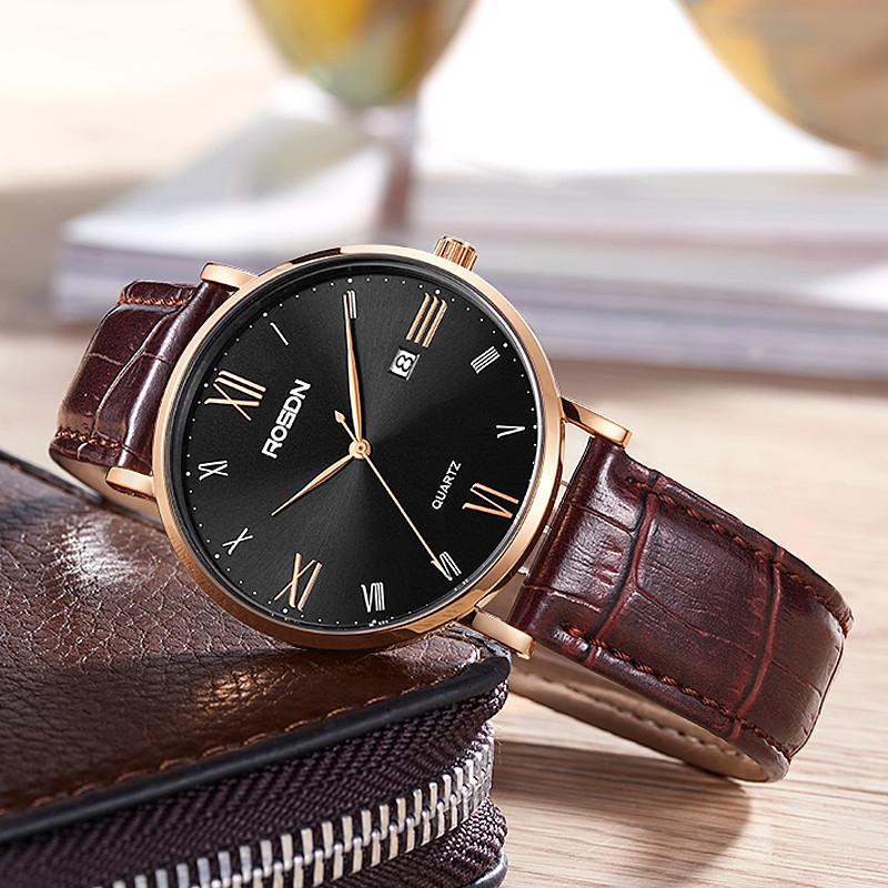 劳士顿男士手表商务真皮表2020新款男士腕表休闲防水手表男表腕表